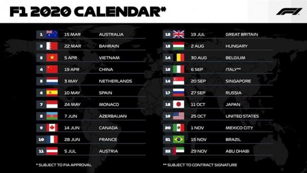 F1 presentó su calendario provisional con 22 carreras para 2020