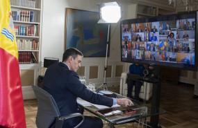 ep el presidente del gobierno pedro sanchez durante la videoconferencia con los presidentes